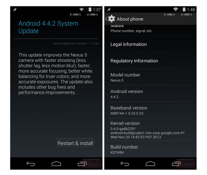 Android Kitkat Update