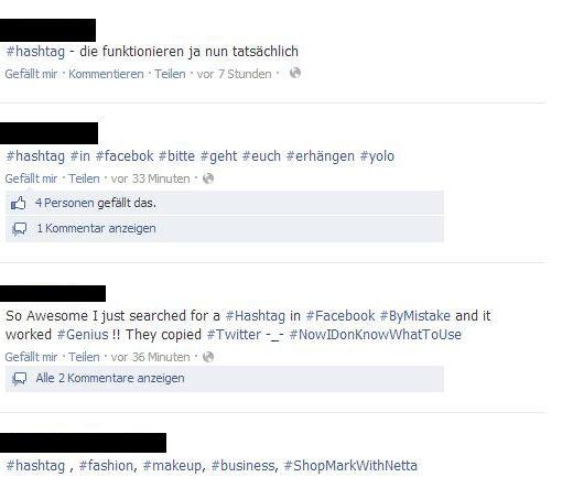 Facebook Hashtags Übersicht die auch funktionieren