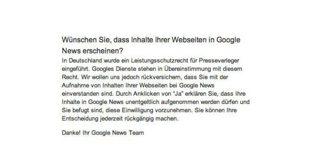 Leistungsschutzrecht - Google verlangt eine Verzichtserklärung