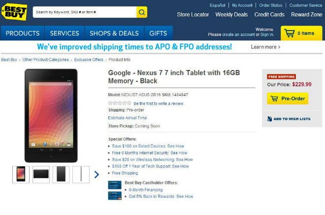 Google Nexus 7 auf Best Buy