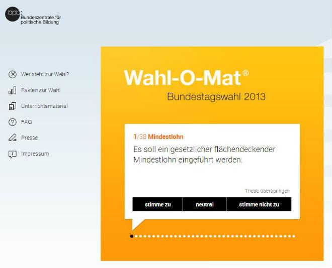 Wahl-O-Mat 2013 zur Bundestagswahl