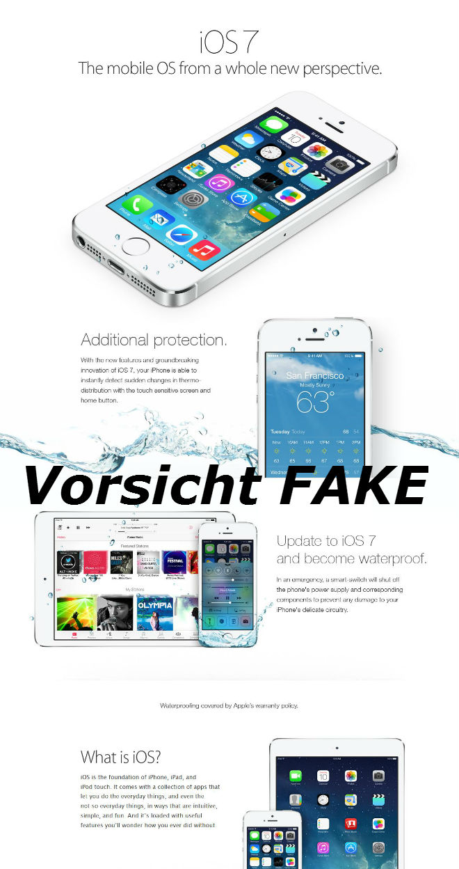 iOS 7 Fake - Werbeflyer