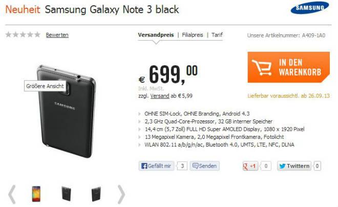 Samsung Galaxy Note 3 bei Cyberport