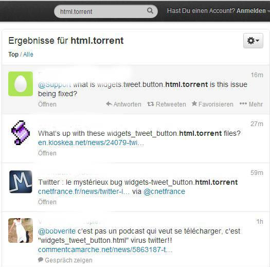 Twitter html torrent Fehler
