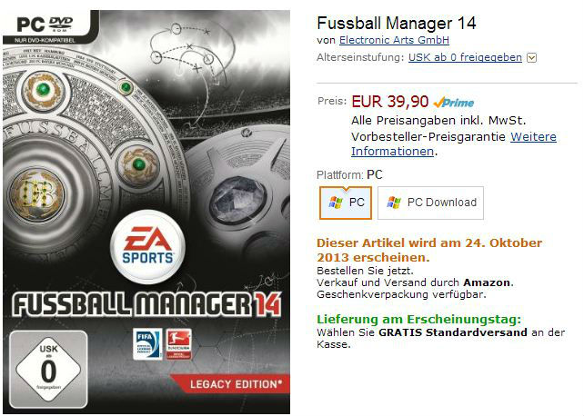 Fussball Manager 14 Amazon
