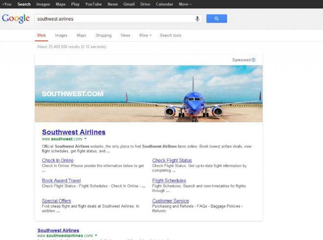 Google mit Werbebanner