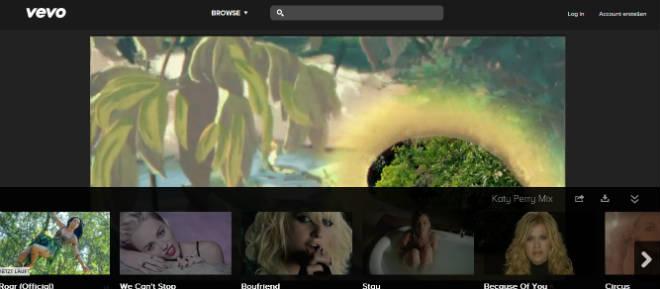 Vevo Musikvideo abspielen und Usability