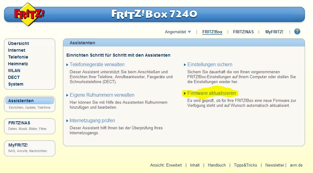 Fritz Box Firmware aktualisieren