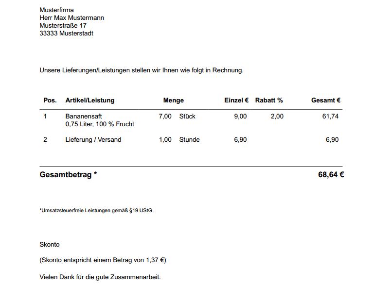 Lexoffice - Rechnung erstellt
