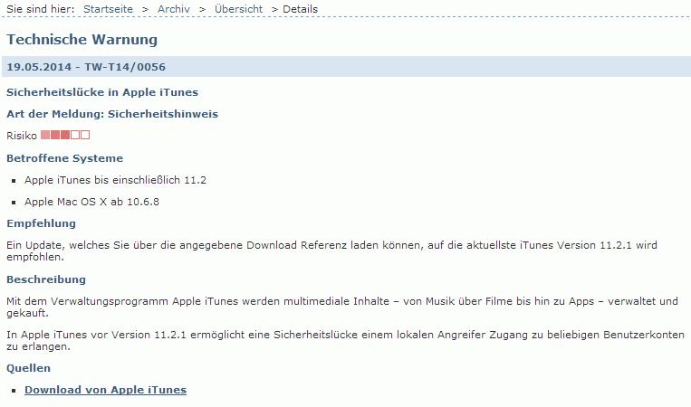 Technische Warnung des Bundesamt für Sicherheit in der Informationstechnik