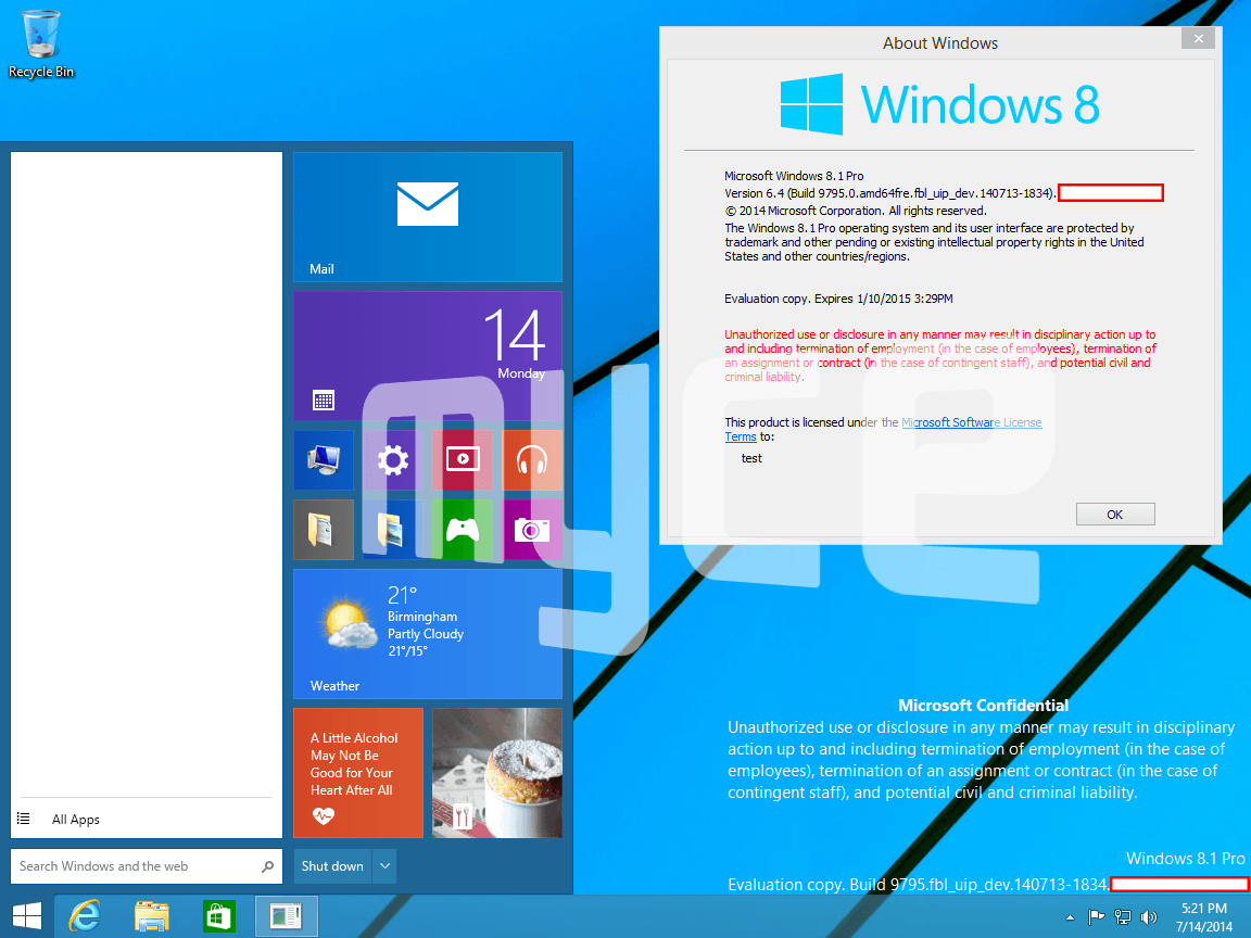 Windows 9 Threshold mit neuem Startmenü