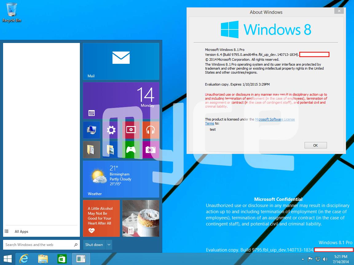 Windows 9 Threshold mit neuem Startmenü