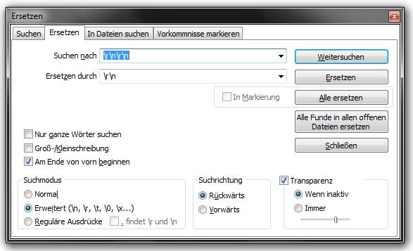 Doppelte Zeilenumbrüche mit Notepad Plus Plus entfernen