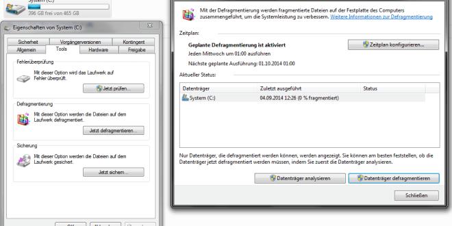 Festplatte unter Windows 7 defragmentieren