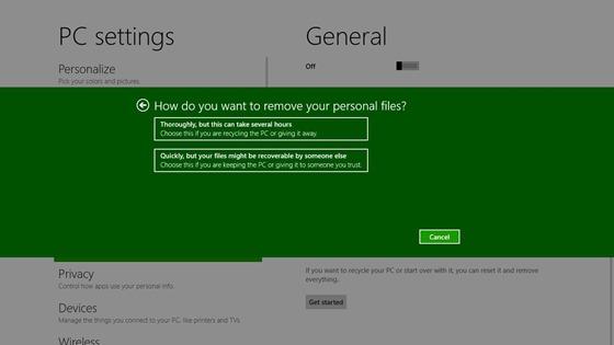 Resetfunktion von Windows 8 - Umgang mit persönlichen Daten