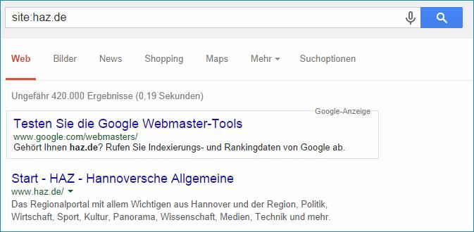 Hannoverische Allgemeine Zeitung mit Google