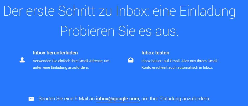 Einladung zu Google Inbox anfordern