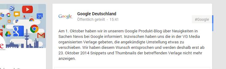 Google Deutschland - Mitteilung zum Aufschub