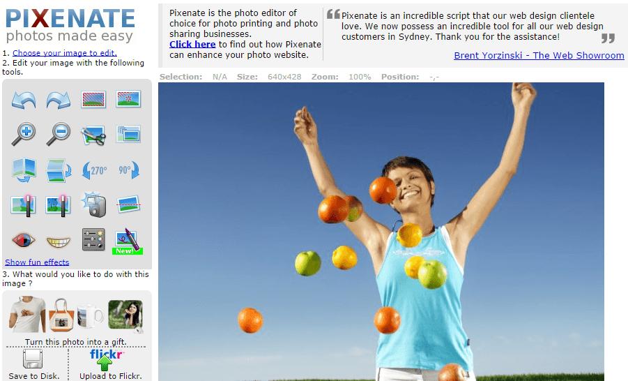 Pixenate Online Bildbearbeitung