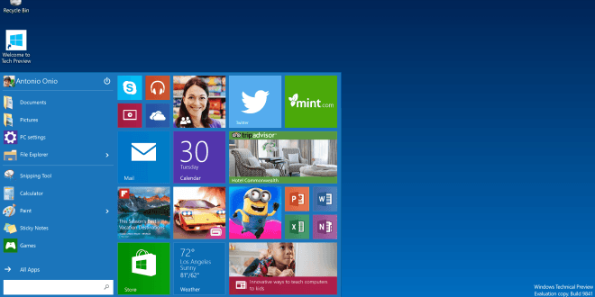 Windows 10 mit neuem Startmenü