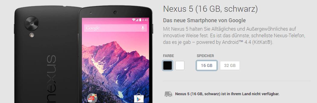 Google Nexus 5 in Schwarz ausverkauft