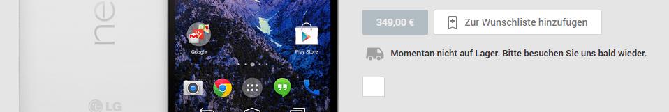 Google Nexus 5 in Weiß auch ausverkauft?
