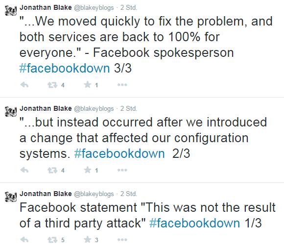 Jonathan Blake über den Facebook Ausfall auf Twitter