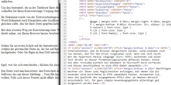 Online Konverter für Microsoft Word-Dokumente nach HTML