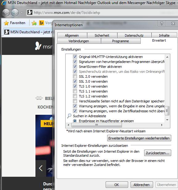 SSL verwenden mit dem Internet Explorer