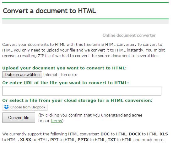 Word-Dokument nach HTML konvertieren