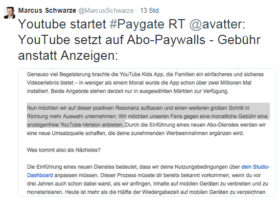 YouTube startet Abo-Modell
