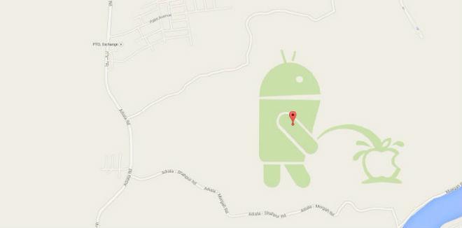 Android Logo pinkelt auf Apple Logo