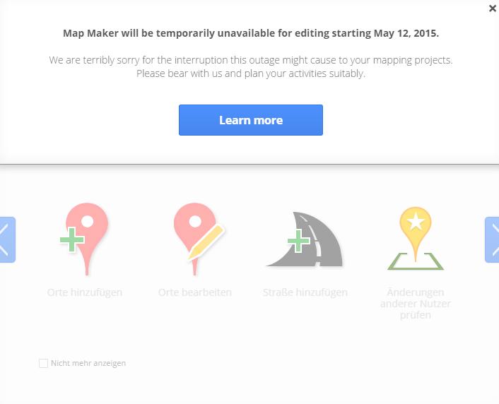 Google Map Maker wird vorerst eingestellt