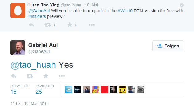 Microsoft Gabriel Aul auf Twitter mit seiner missverständlichen Aussage
