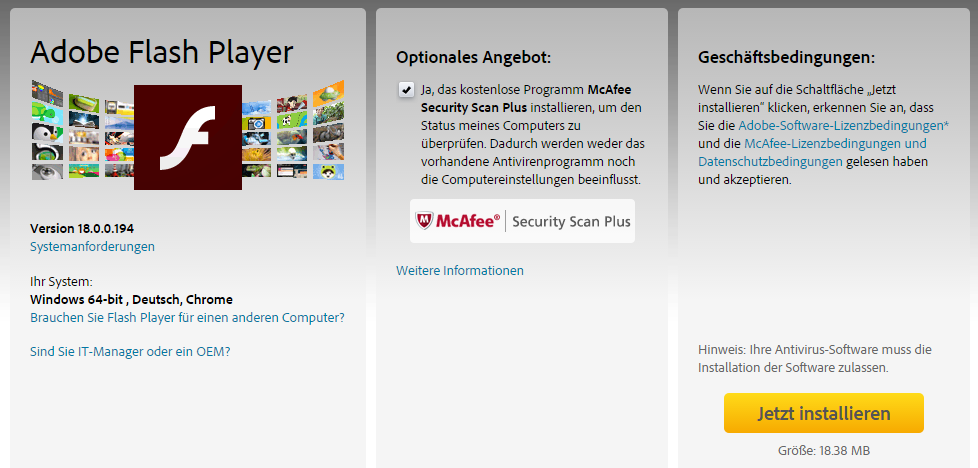 Adobe Flash Player mit McAfee Security Scan Plus installieren?