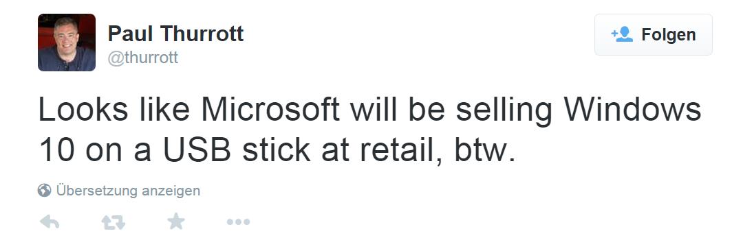 Windows 10 wird auch als USB-Stick Version erscheinen